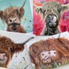Pankhurst Cards and Gifts Hoofin Happy Highland Cows art greetings cards