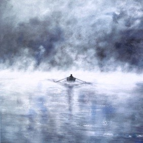 Misty Morning Rowing Boat Art Greetings Card Gift Pankhurst Cards and Gifts