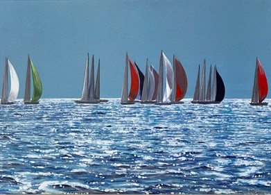 On the Horizon seascape yacht Art Greetings Card Gift Pankhurst Cards and Gifts