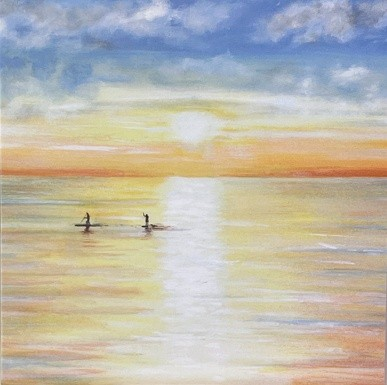 Paddle boarding seascape Art Greetings Card Gift Pankhurst Cards and Gifts