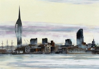 Portsmouth Skyline Landscape Art Greetings Card Gift Pankhurst Cards and Gifts