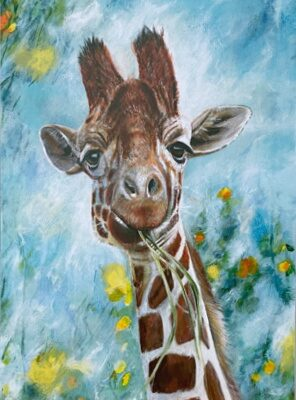 Prudence Giraffe Art Greetings Card Gift Pankhurst Cards and Gifts