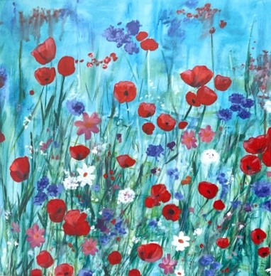 Scarlet Meadow colourful vibrant flower landscape Art Greetings Card Gift Pankhurst Cards and Gifts