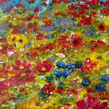 Spring Has Sprung colourful vibrant flower landscape Art Greetings Card Gift Pankhurst Cards and Gifts