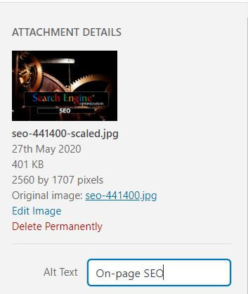 Another On-Page SEO tool is completing your image alt tags on each of your website pages.