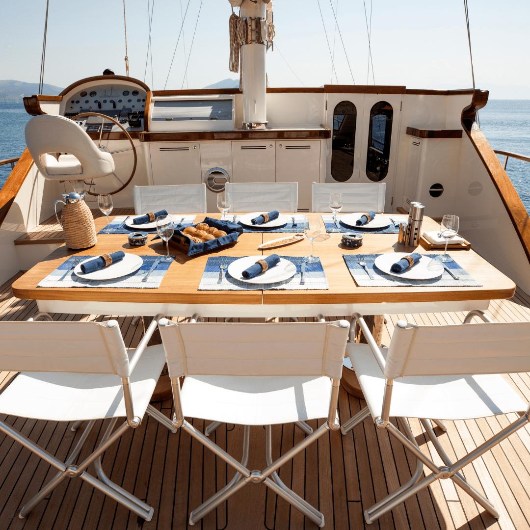 Yасhts food menu onboard