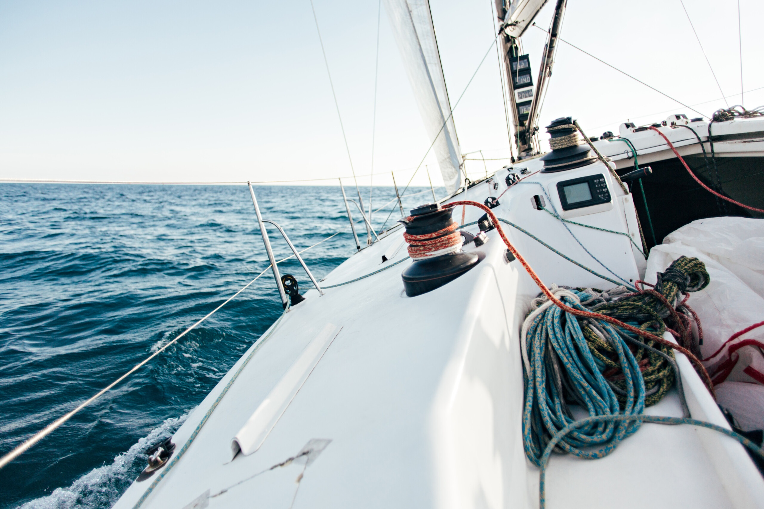 Deck of professional racing yacht leaning in wind