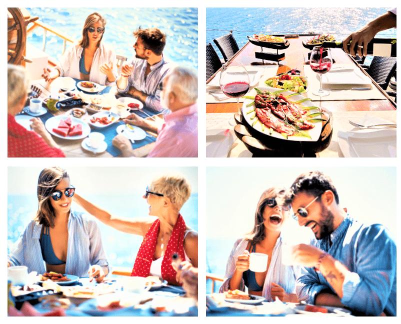 Dubai yacht food menu onboard