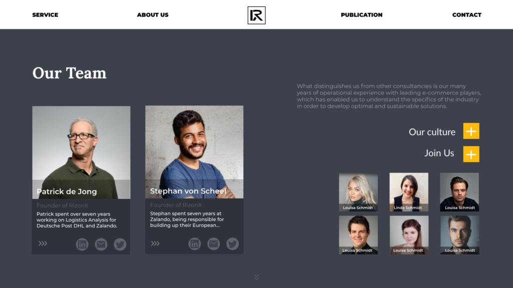 website re-design team page