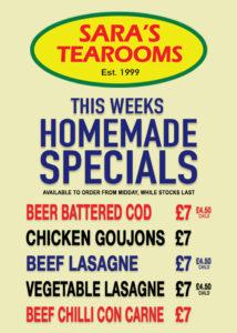 Homemade Specials at Sara's Tearooms