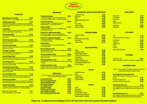 Sara's Tearooms 2020 Menu - 16-07-2020