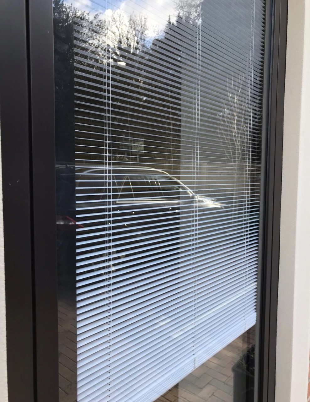 Windows with blinds inside