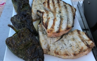 Grilled Swordfish and Poblanos