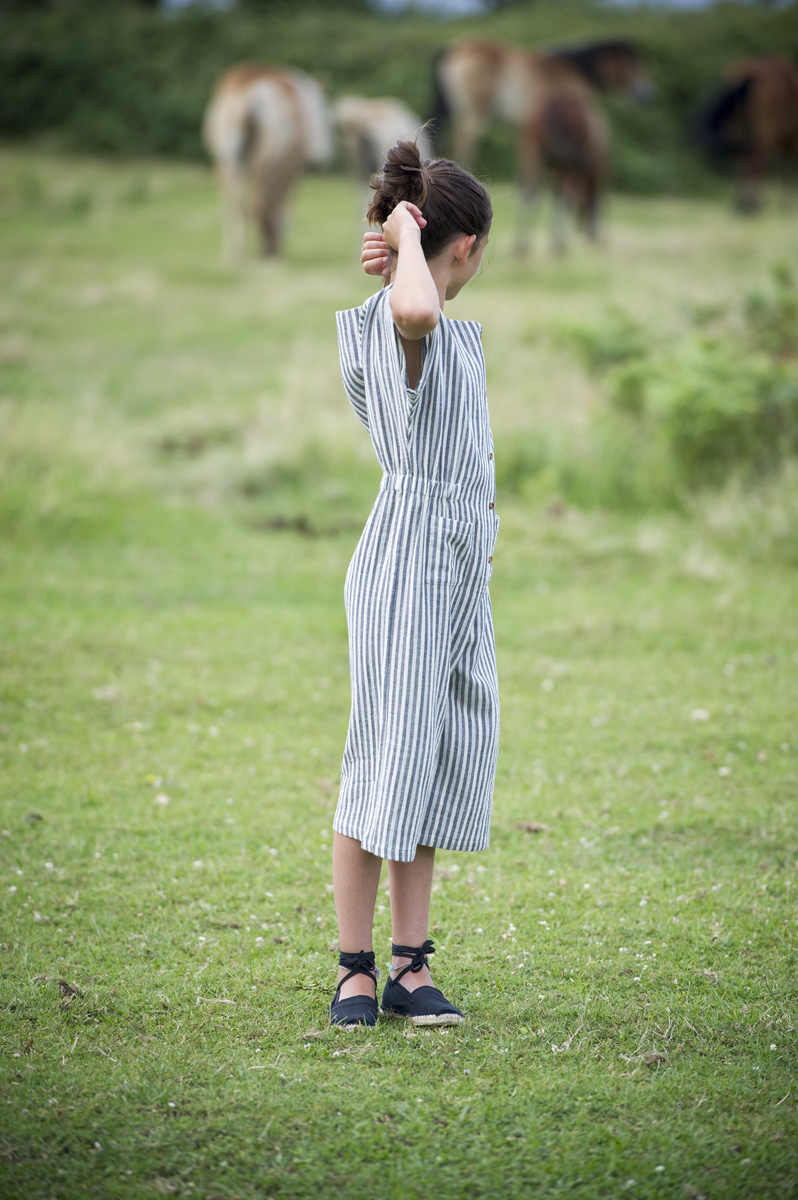 TALAIA spruce blue & white stripped jumpsuit