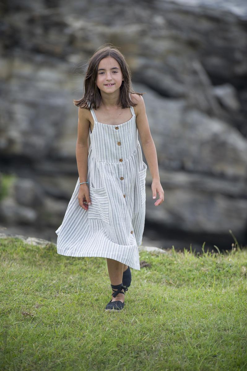 JAIZKIBEL coin grey & white stripped dress