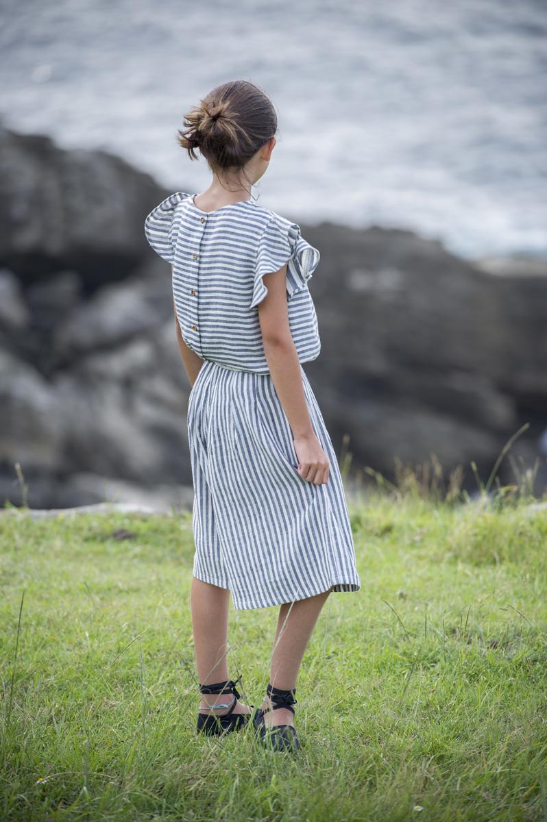 PASAI spruce blue & white stripped culotte