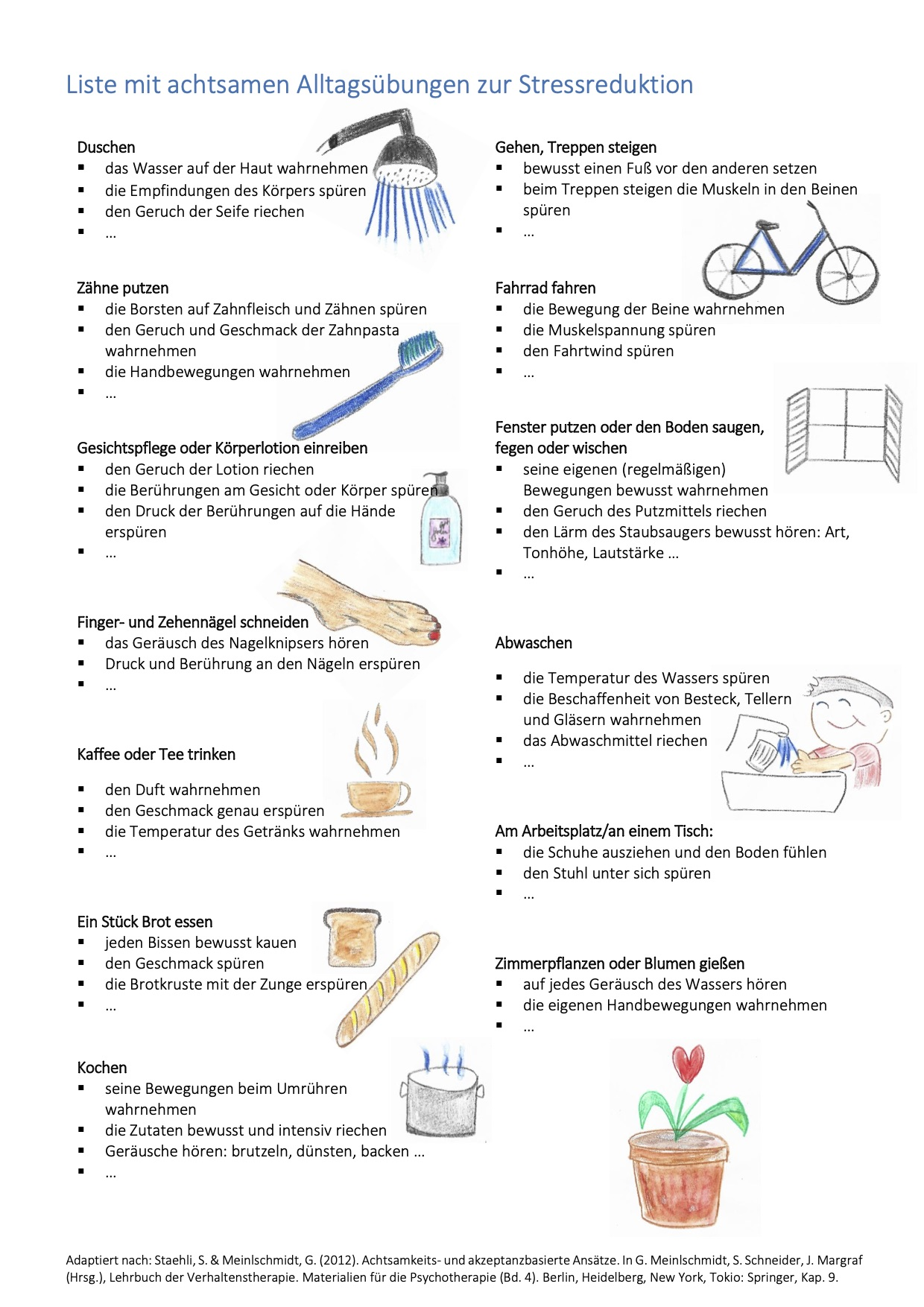 Liste mit Alltagstätigkeiten zur Achtsamkeitsübung