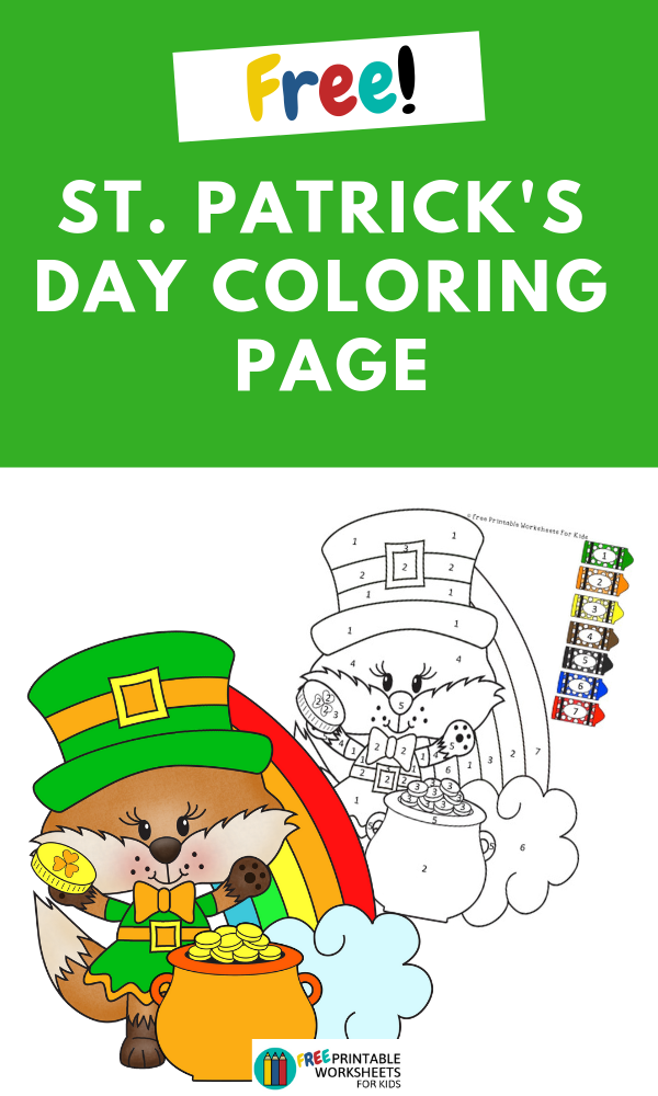 St Patrick's Day Color By Number | Free Printable Worksheets For Kids | St Patrick's Day color by number activity