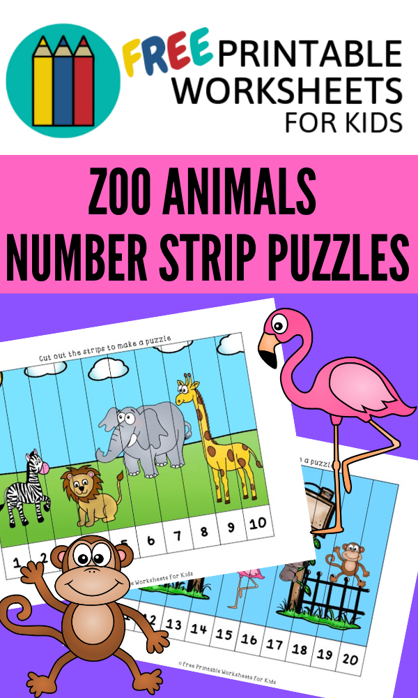 Zoo Animals Number Strip Puzzles | Free Printable Worksheets For Kids | Cute and brightly colored zoo animal pictures will entice your child to complete these puzzles and learn the numbers 1 to 20.