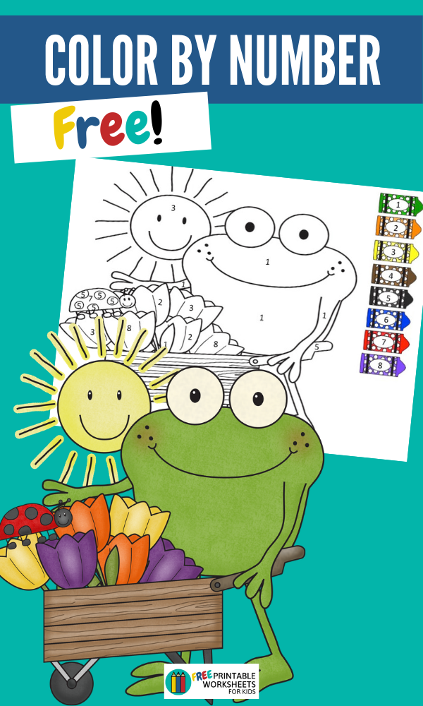Freddy Frog Spring Color By Number | Free Printable Worksheets For Kids | This frog themed printable will get your preschooler excited for spring!