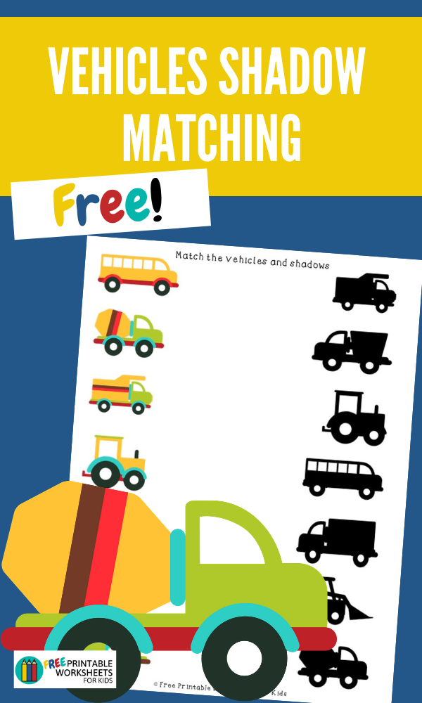 Vehicles Shadow Matching | Free Printable Worksheets For Kids | Develop visual discrimination with this fun vehicle-themed worksheet