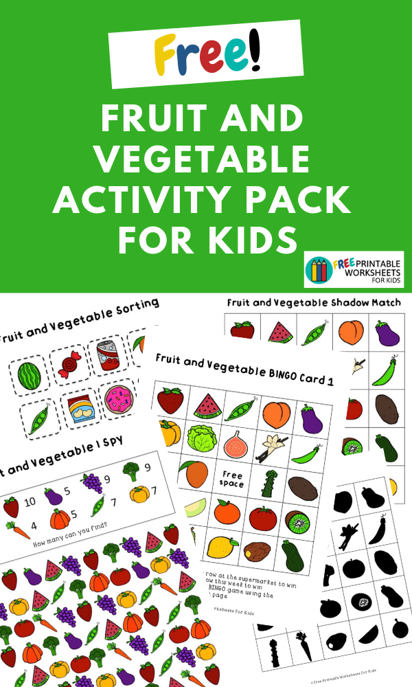 Fruit and Vegetable Activity Pack | Free Printable Worksheets For Kids | (*The links below are affiliate links. Thank you for supporting this blog!)