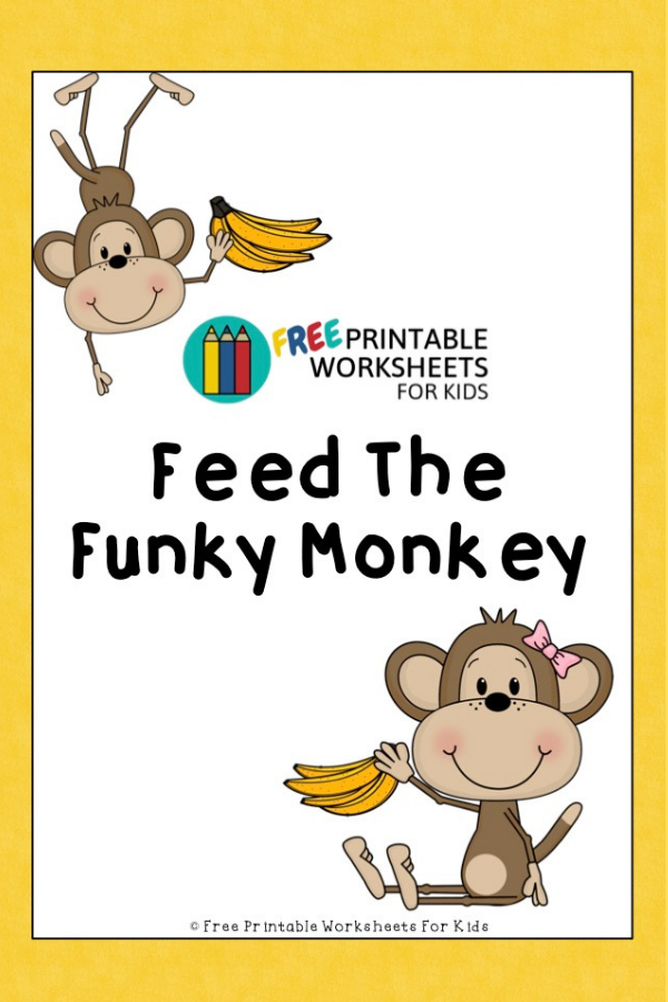 Feed The Funky Monkey | Free Printable Worksheets For Kids | Indoor activity to develop gross motor, literacy and number skills