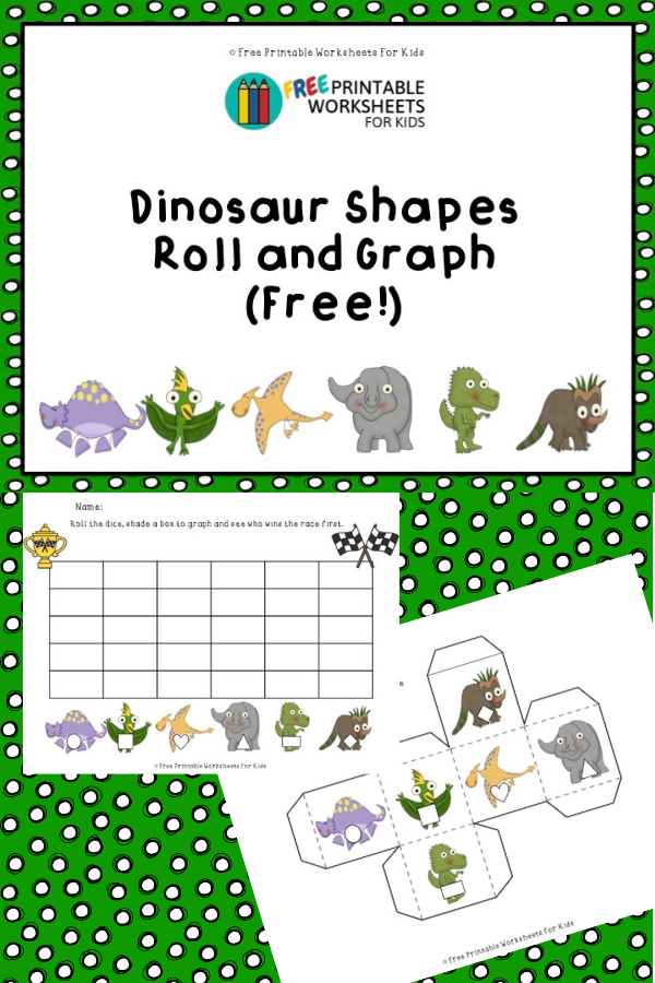 Dinosaur Shapes Roll and Graph Activity | Free Printable Worksheets For Kids | Preschool dinosaur-themed dice game to help with learning shapes and counting to 5
