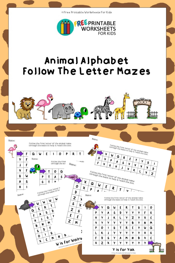 Animal Alphabet Follow The Letter Mazes | Free Printable Worksheets For Kids | 26 mazes in this worksheet pack to help your preschool child learn letter recognition