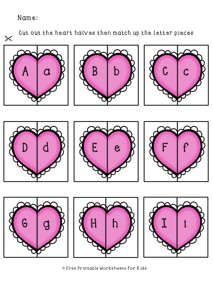 Valentines Alphabet Match | Free Printable Worksheets For Kids | Valentines-themed game to match the upper and lowercase letters