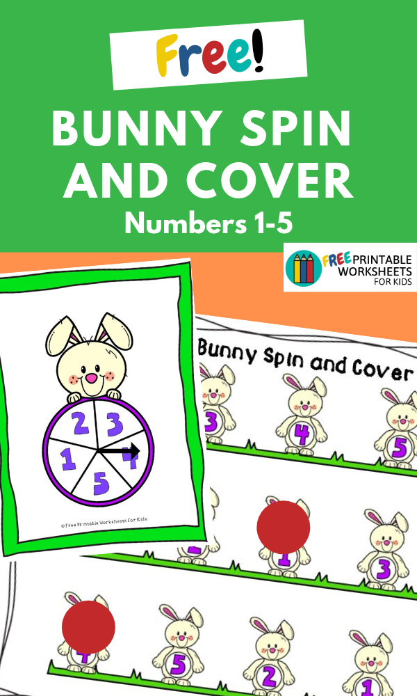 Bunny Spin and Cover (Numbers 1-5) | Free Printable Worksheets For Kids | This simple number recognition printable is great fun for preschoolers and just in time for Easter!