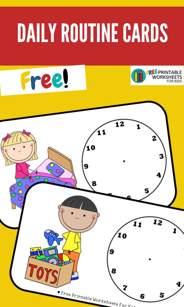 Daily Routine Cards | Free Printable Worksheets For Kids | Simple visual routine cards that you can personalise with your own time.