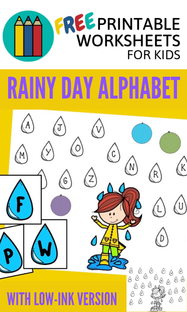 Rainy Day Alphabet | Free Printable Worksheets For Kids | (*The links below are affiliate links. Thank you for supporting this blog!)