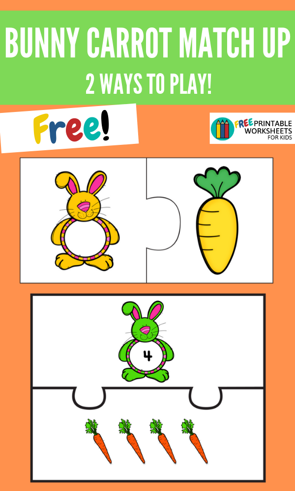 Bunny Carrot Match Up | Free Printable Worksheets For Kids | (*The links below are affiliate links. Thank you for supporting this blog!)