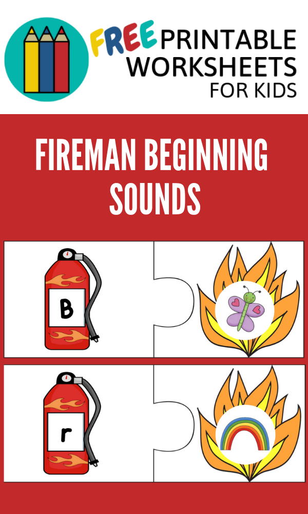Firefighter Beginning Sounds | Free Printable Worksheets For Kids | Match the letter to the object with that beginning sound.