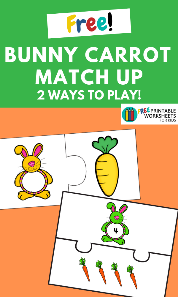 Bunny Carrot Match Up | Free Printable Worksheets For Kids | Are you gearing up for Easter? Your preschooler will love this numbers and colors matching activity with an Easter Bunny theme!