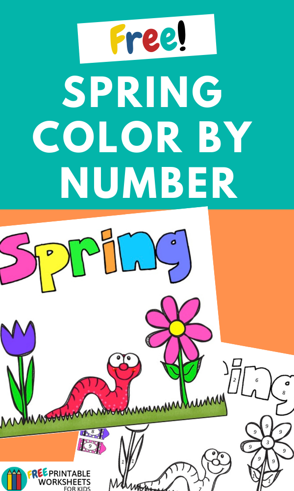 Spring Color By Number Pack | Free Printable Worksheets For Kids | There are 6 spring-themed color by number pages included in this pack.