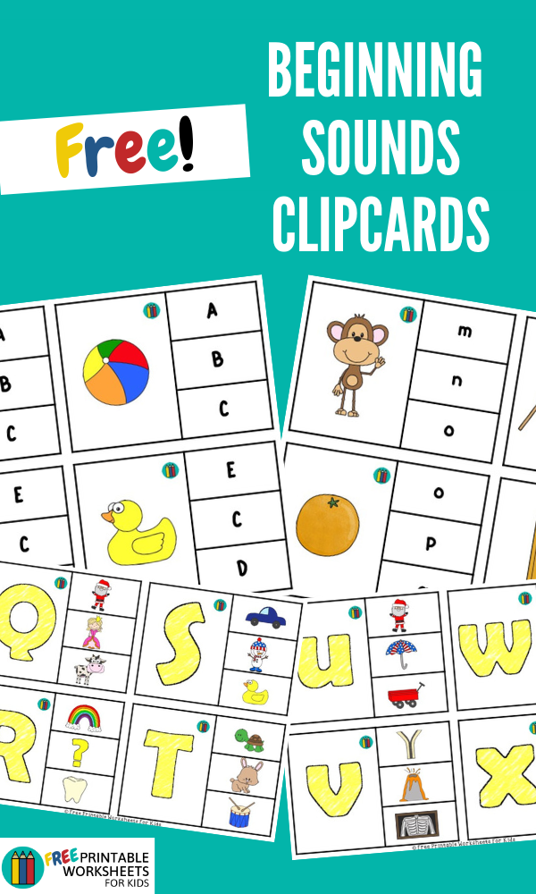 Alphabet Beginning Sounds Clipcards | Kool Kids Games | These beginning sound clipcards are super easy to prep. It helps develop literacy as well as fine motor skills.