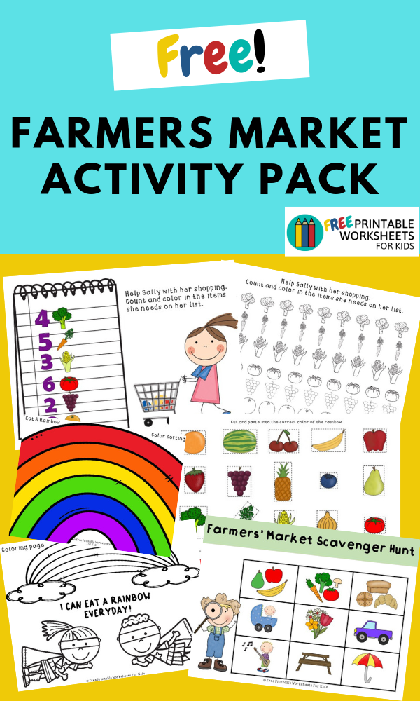 Farmers Market Activities Pack | Free Printable Worksheets For Kids | This pack of 5 activities is the perfect opportunity for kids to learn about healthy eating.