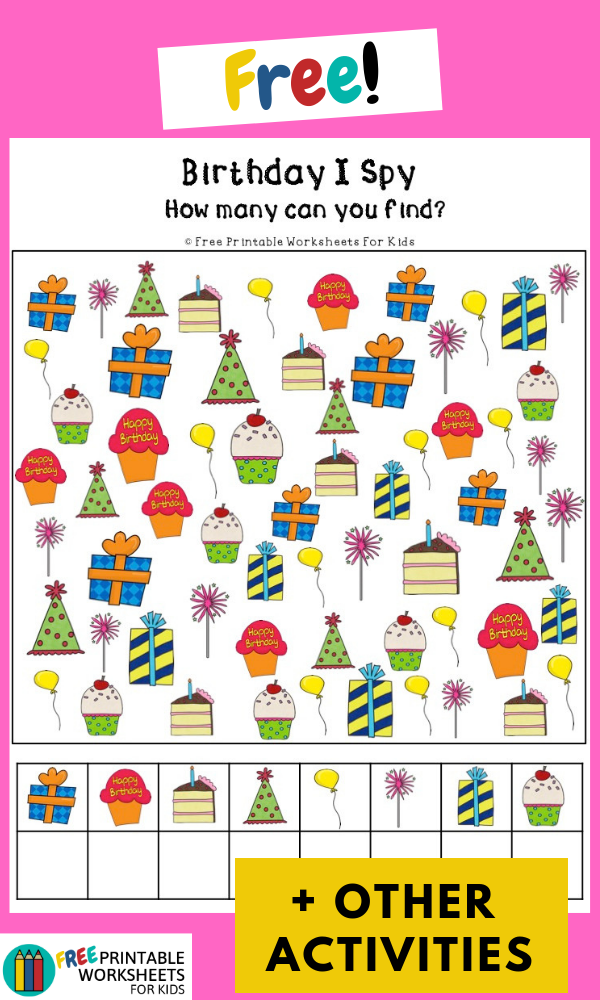 Birthday Activities Pack | Free Printable Worksheets For Kids | This birthday pack includes activities that help develop literacy, math and visual discrimination skills.