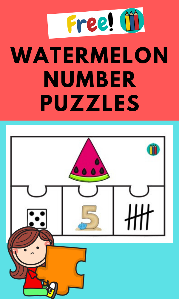Watermelon 4-piece Number Puzzles | Free Printable Worksheets For Kids | (*Disclaimer: Some links in this post are affiliate links. I may receive a small commission but this does not increase the price you pay. Thank you for supporting this blog!)