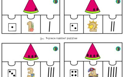 Watermelon 4-piece Number Puzzles