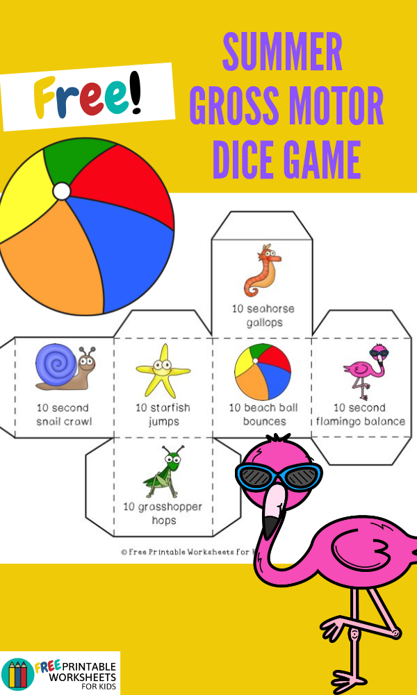 Summer Edition Gross Motor Dice | Free Printable Worksheets For Kids | Summer-themed gross motor game to get your kids or family moving