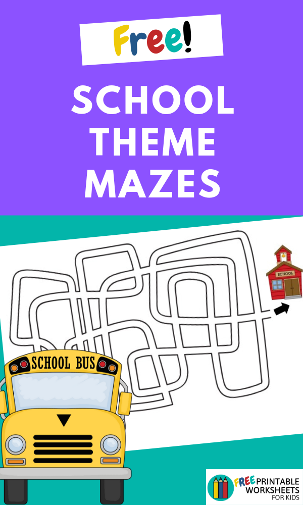 Back To School Theme Mazes | Free Printable Worksheets For Kids | 3 different back to school mazes for fine motor practice