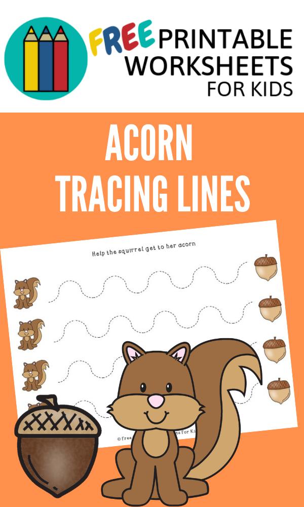 Acorn Tracing Lines | Free Printable Worksheets For Kids | Practice fine motor skills with these 4 different acorn-themed worksheets. Help the squirrel grab the acorn!