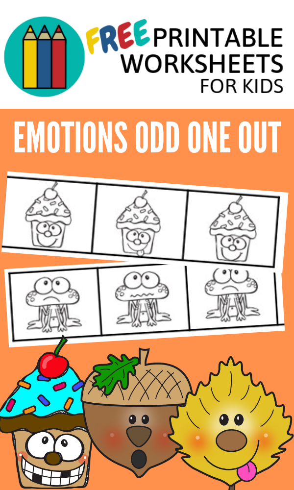 Emotions Odd One Out | Free Printable Worksheets For Kids | Emotions-themed visual discrimination worksheet to find the odd one out in a group of faces