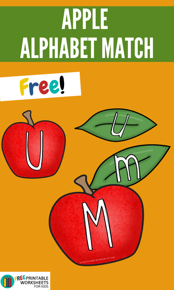 Apple and Leaf Alphabet Match | Free Printable Worksheets For Kids | Match up the uppercase letters on the apple to the lowercase letters on the leaves.