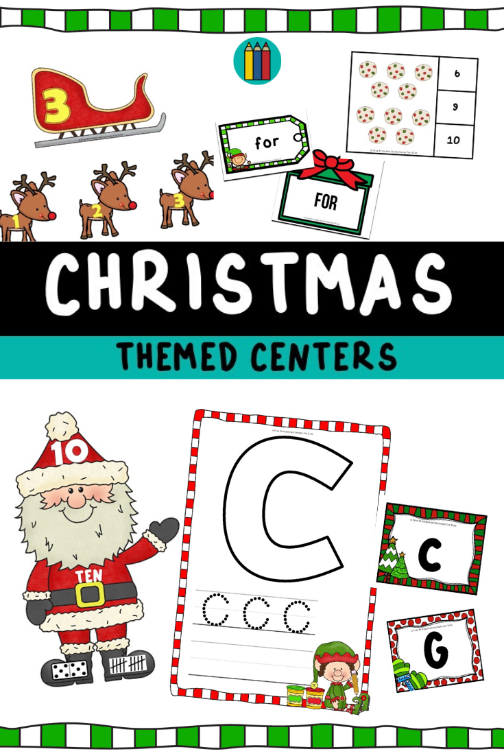 Christmas Themed Literacy and Math Centers | Free Printable Worksheets For Kids | Get your kids excited for Christmas with these 10 literacy and math centers perfect for pre-k to 1st grade.