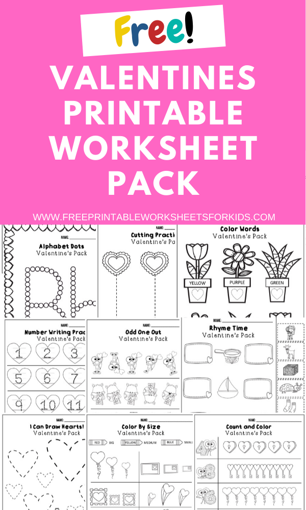 Fun Valentines Printables for Preschool and Kindergarten | February Valentines Themed Games | Hands On Homeschool Activities | Kids Classroom Center Ideas and Worksheets #FreePrintableWorksheetsForKids #Valentines #Heart #February