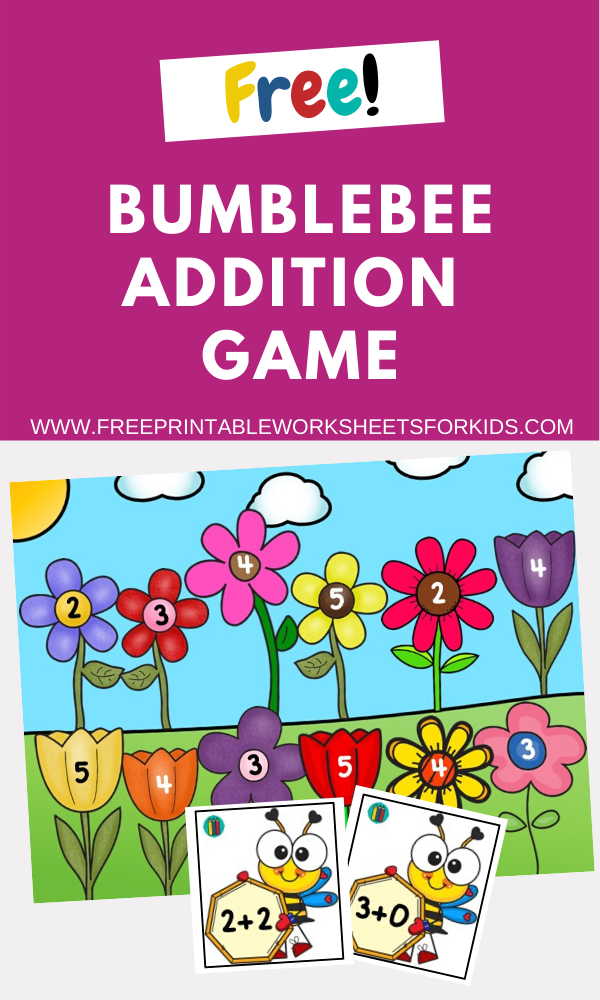 Bumblebee Addition Game | Free Printable Worksheets For Kids | Colorful bee themed math game for kids to practice simple sums to 10